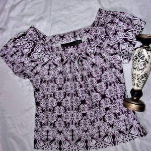 woman large L pattern purple white  shirt top